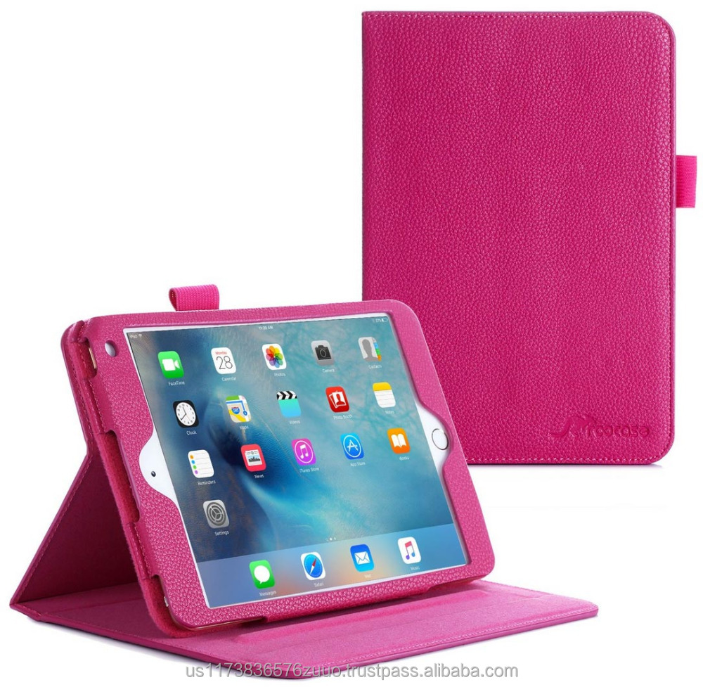 Doble Vista Premium Slim Fit PU Leather Folio Case, Smart Cover Auto Sleep/Wake; interior de la manga para el ipad Mini 4 roocase (magenta)