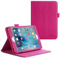 Dual View Slim Fit Premium PU Leather Folio Case, Smart Cover Auto Sleep/Wake; inner sleeve for iPad Mini 4 roocase (magenta)