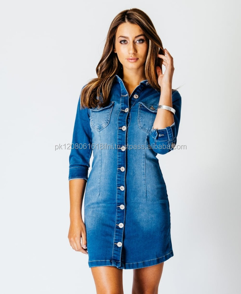 Sexy front button jeans denim shirt style dress for girls