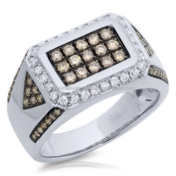 1.02CT 14K White Gold White & Champagne Diamond Ring 1/2 CT. T.W. Diamond Swiral Frame Cluster Engagement Ring In 10K