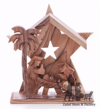 Olive Wood Nativity Handicraft from Bethlehem Fair Trade Holiday Gift Zuluf - NAT036