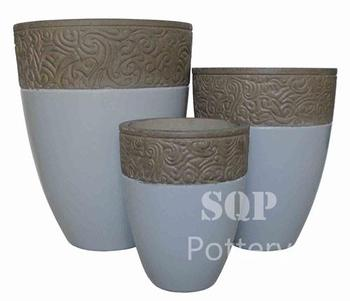 High Round White painted Cement pot with top decor