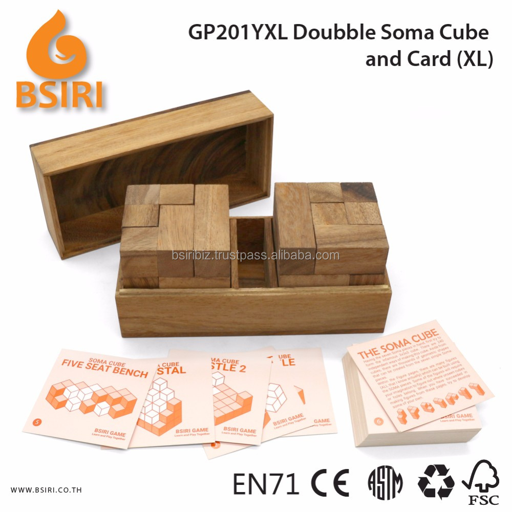 Doubble Soma Puzzle and Card Wooden Adult Puzzles