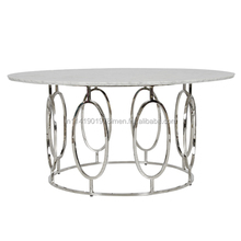 living room modern round white marble top coffee table with brass metal stainless steel frame