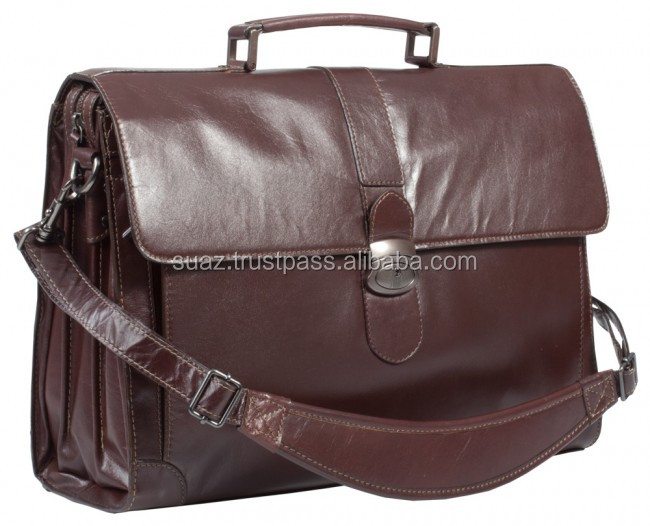 "Dark Brown Leather 17"" Laptop Briefcase , Wholesale Laptop bags , Customize Italian Cow Genuine Leather 15'' Mens Business Bags"