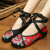 Women's Shoes Old Peking Flower Embroidery Flat Heel Casual Cloth Walking Shoes