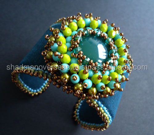 Handcrafted beaded designer cuff bracelet for women 11643