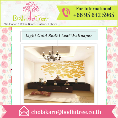 Wholesale Spiritual Light Gold Bodhi Leaf Wallpaper for Buddha Room