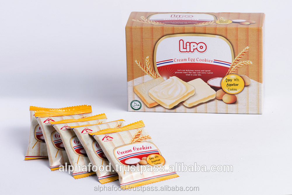 Lipo biscuit cream flavor 100g box packaging - morning biscuit for an energetic day