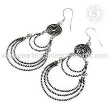 Spectacular 925 Sterling Silver Earring Women Fashion Jewelry India Exotic Wholesale Jewelry Handmade Silver Jewelry