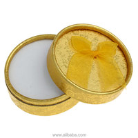 Paper Jewelry Gift Boxes Cases Display Round Golden 8.3cm x 8.3cm x 3.4cm,6PCs