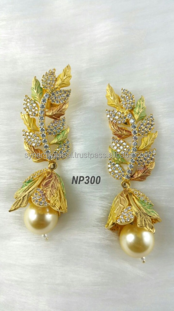 Copper gold paltes indian traditional earrings for women