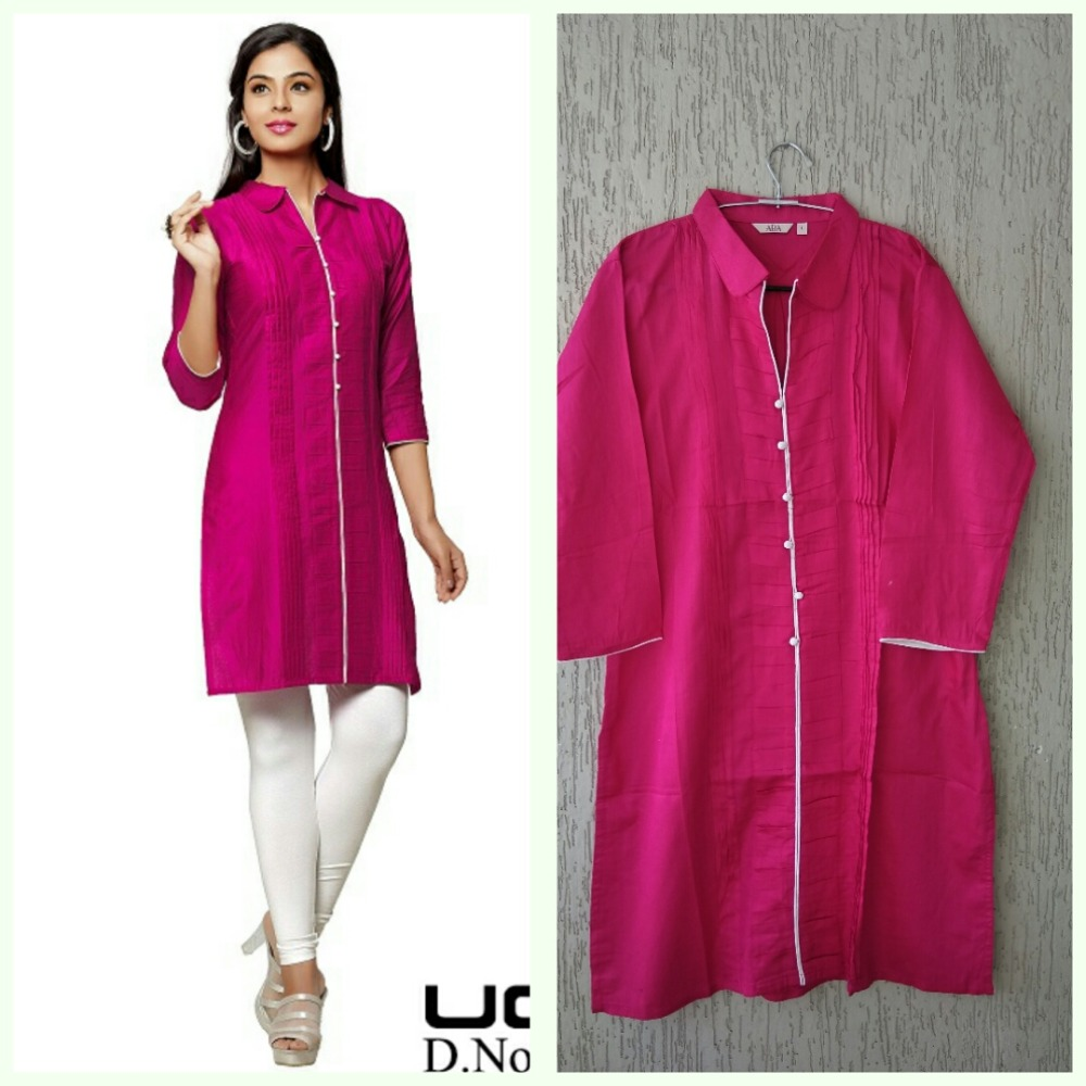 GLACE COTTON/SATIN COTTON KURTES FOR WOMEN