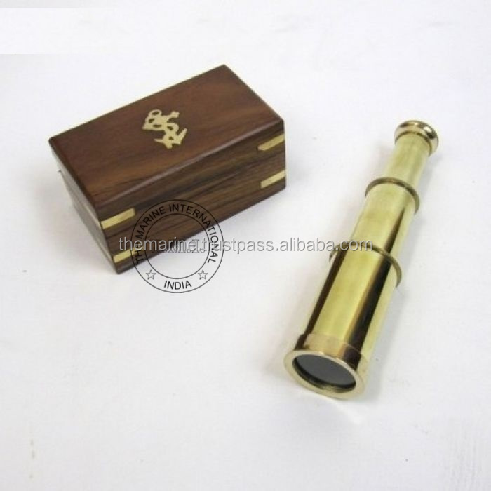 "6"" FULL BRASS SPYGLASS TELESCOPE WITH WOODEN BOX - NAUTICAL PULLOUT TELESCOPE - BRASS PIRATE TELESCOPE - MARINE PROP GIFT"