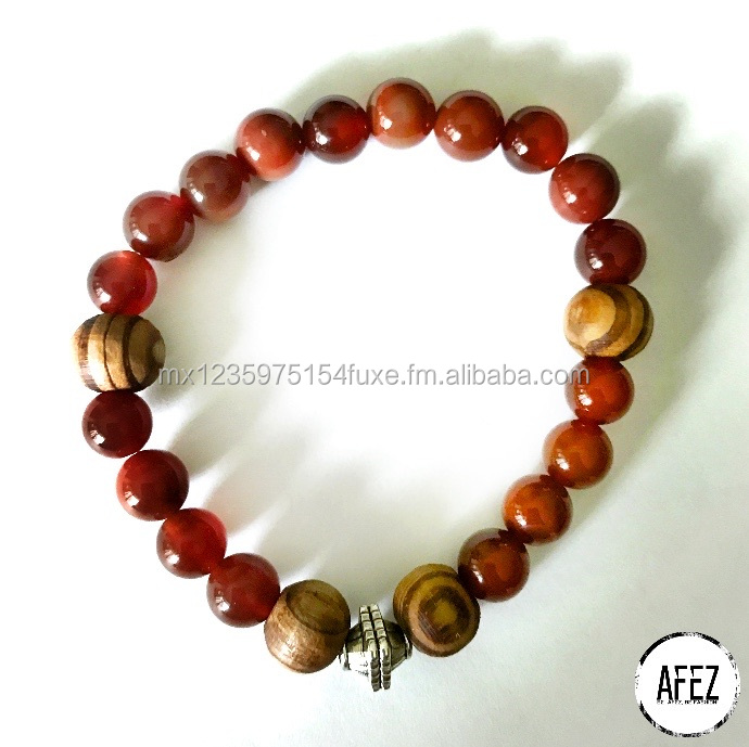 ELEGANT Red Agata and Wood Bracelet