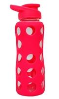 Borosilicate glass bottle with silicone sleeve 750ml Pink