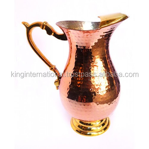 Jug set 7pcs glass brass copper tea set with patterns/water jug