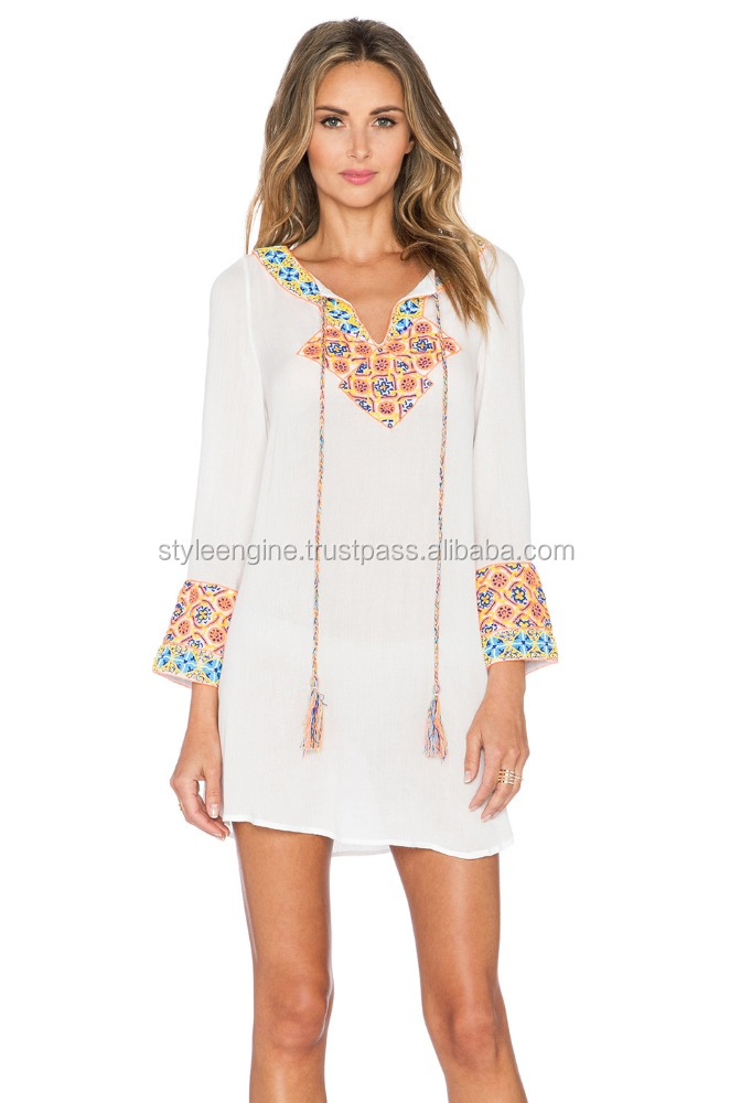 WHITE COTTON TUNIC WITH TASSELS & EMBROIDERY AT NECK &SLEEVES