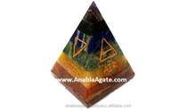 Wholesale Pagan/Wiccan Chakra Bonded With 5 Elements Pyramid : Seven Chakra Bonded 5 Element Engraved Pyramid