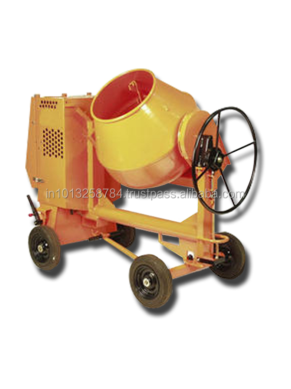 one and half bag with feeding Hopper Diesel Concrete Mixer 100 ltrs with MS Drum & Scooter Wheel