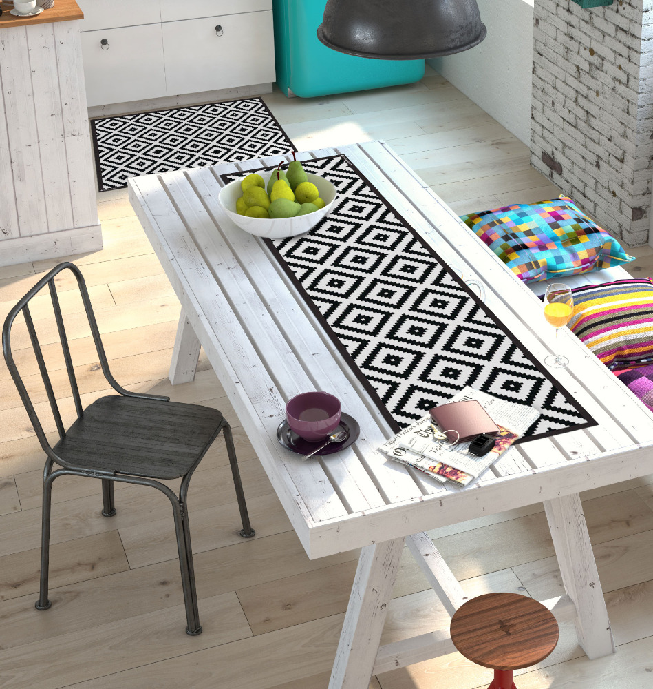 PVC Vinyl Table Runner- 30x120 cm Pixel Table Runner for Kitchen/Dining Table Decoration