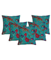 Indian Bird Printed Cushion Cover Bird Of Paradise Kantha Cushion Cover