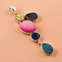 925 Sterling Silver Pendant Natural Druzy