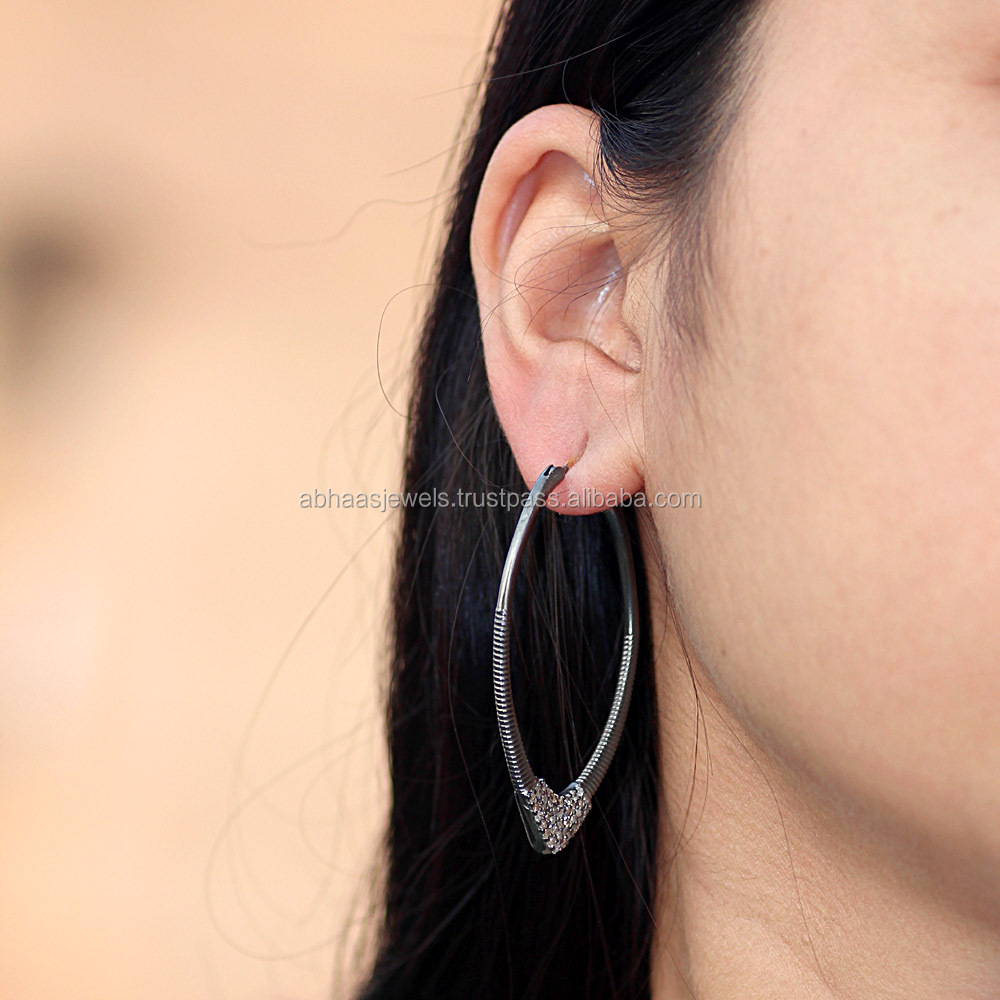 Pave Diamond Jewelry, Sterling Silver Hoop Earrings, Fashion Earrings Wholesale