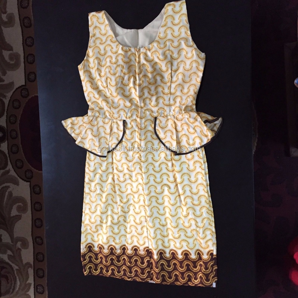 Vintage and famous party wear funtion ,occasion wear long dress / Women's African Cream/Print Sleeveless Peplum Dress