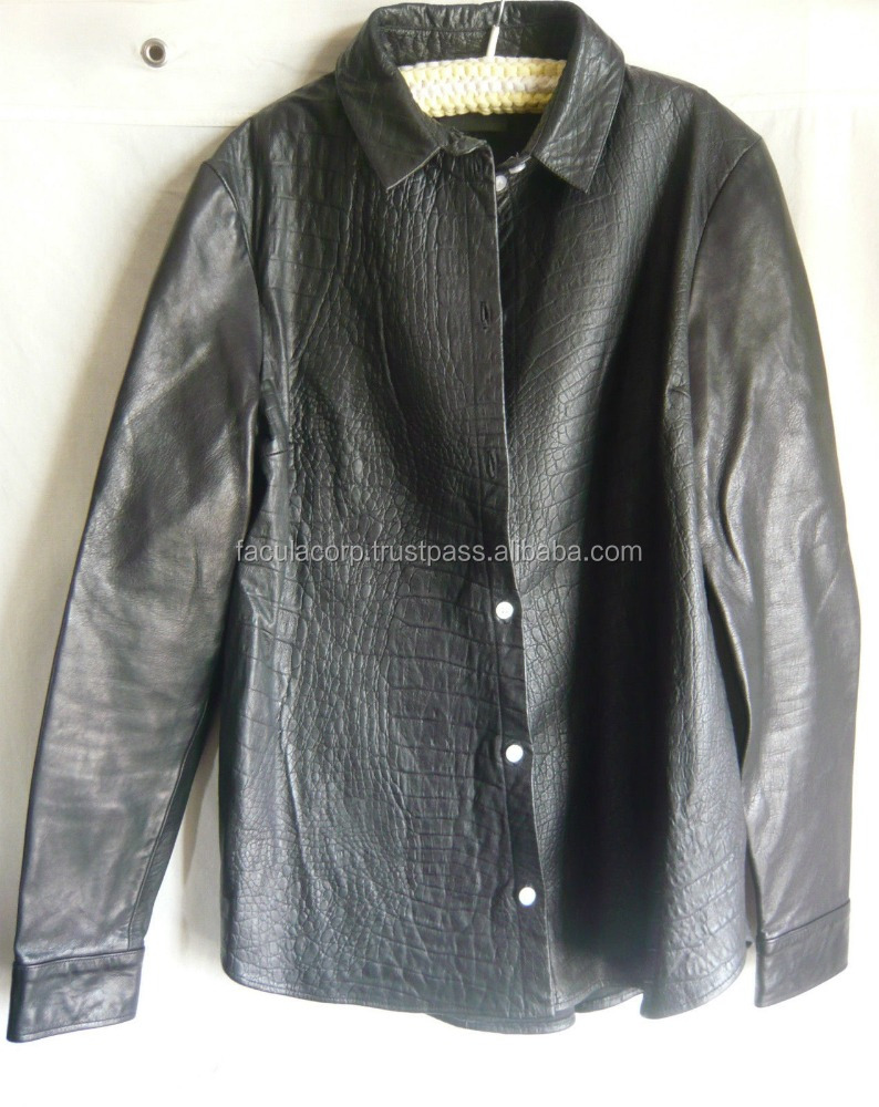 fabulous black leather crocodile embossed shirt/jacket FC-8358