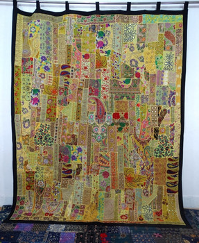Big Vintage Sari Patchwork Tapestry , Huge Indian Patchwork WallHanging , Big Sari Patchwork Curtain , Large India Tapestry