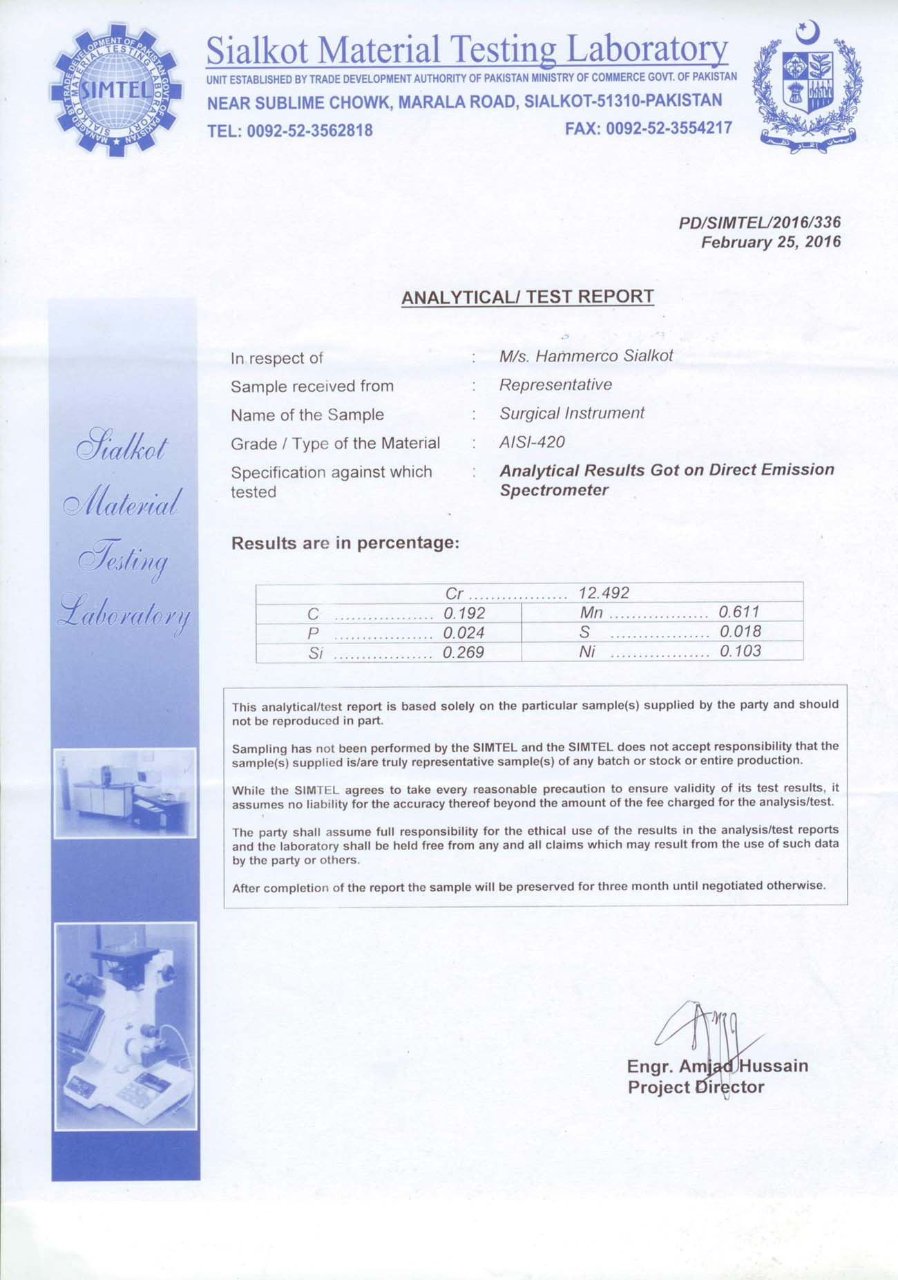 Analytical/Test Report