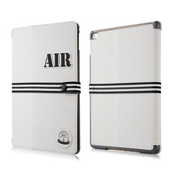BASEUS Baseball Style Series Tri-fold Smart Leather Case for iPad Air 2 - White