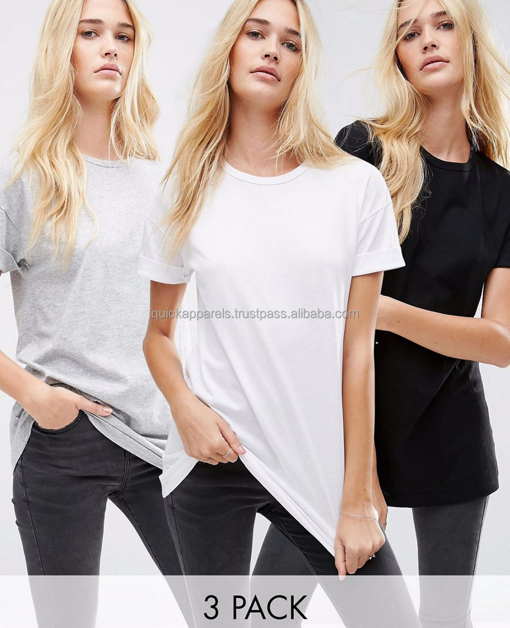 Wholesale stock lot basic plain women fitted blank color collar design t-shirts