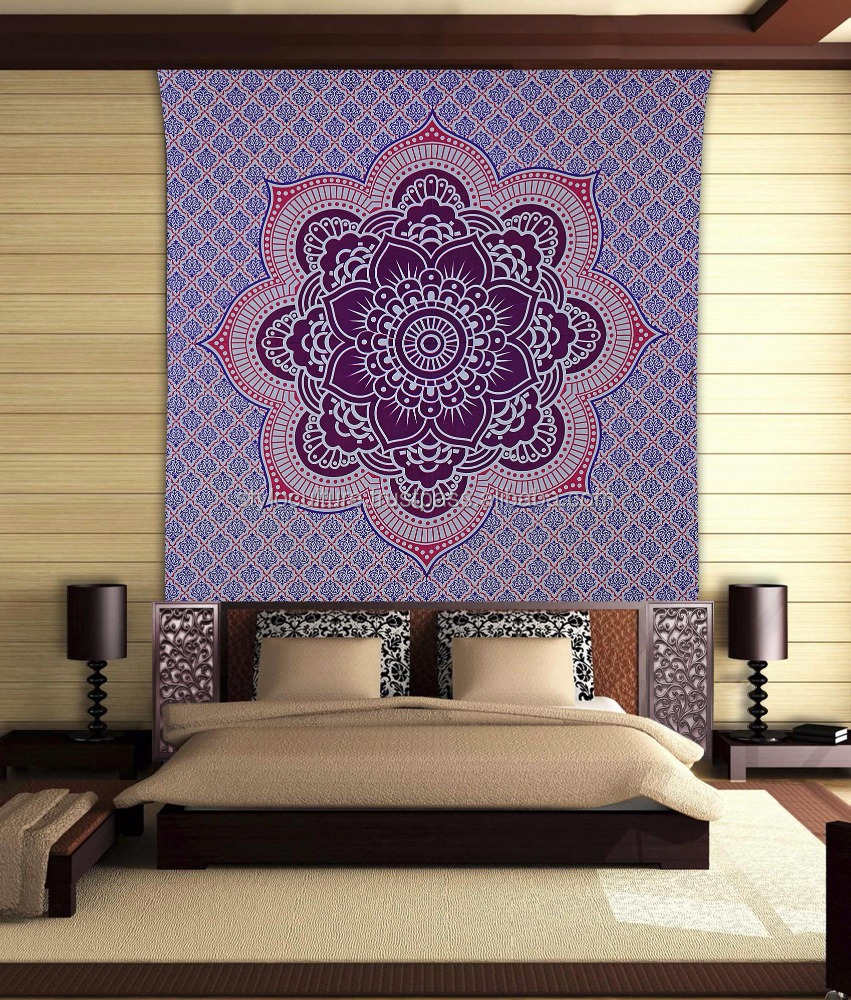 Decorative Custom Tapestry Floral Purple Screen Printed Mandala Hanging Decor Wall Tapestry