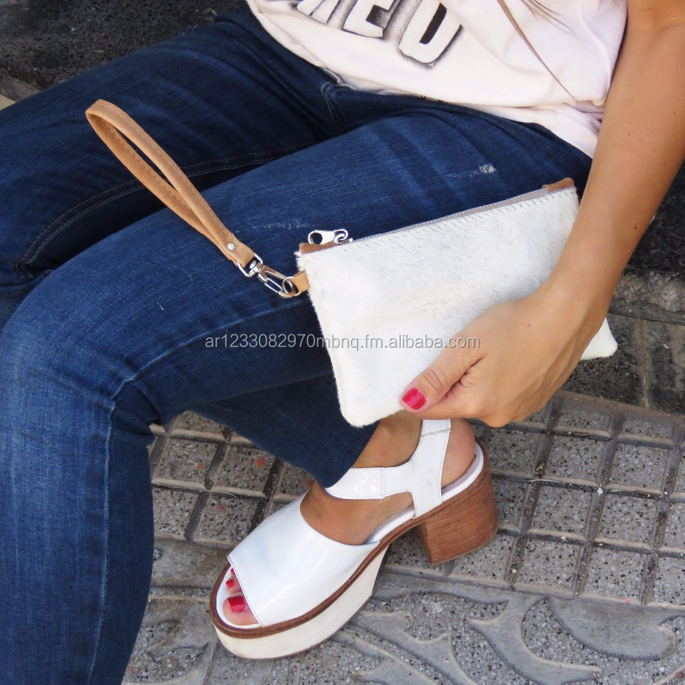New fashion leather hair on hide clutch handbag