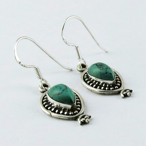 Massive Pear Shape Turquoise 925 Sterling Silver Gemstone Earring, Silver Jewellery Wholesale, Silver Jewellery Exporter