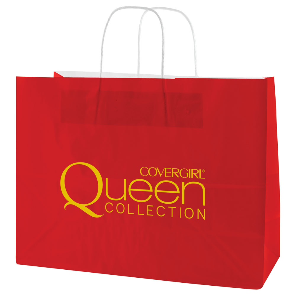 "USA Made Gloss Coated Shopping Bag - dimensions are 16"" x 6"" x 13"", made of #63 white kraft paper and comes with your logo"