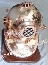 Antique Nautical Mark IV Diving/Divers Helmet with Wooden Base