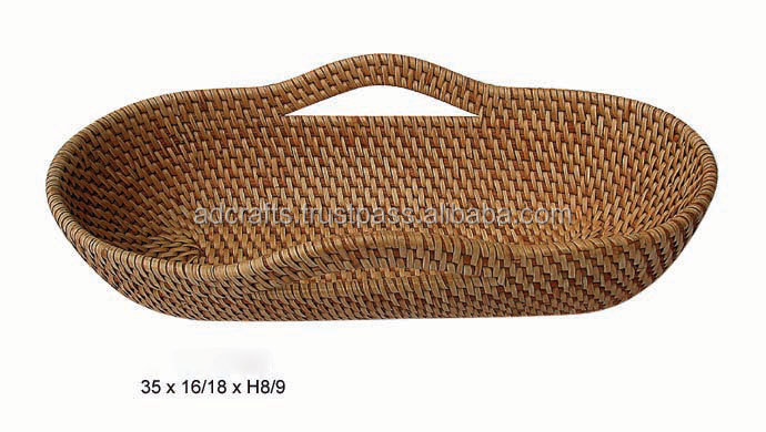 Bread rattan tray with handle Vietnam handicraft product