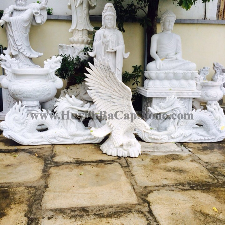 Eagle white Marble stone Statue sculpture - Handmade 100%