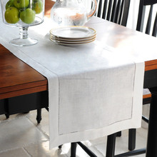 Ladder hemstitch white linen table runner