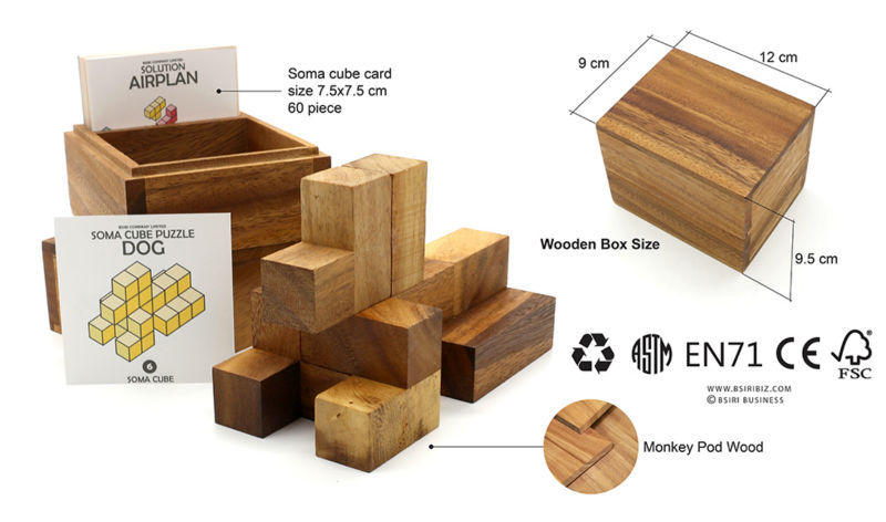 Soma Cube Box 3D Tangram Wooden Puzzle