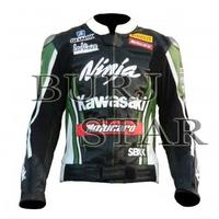 High Quality Kawasaki Ninja Motorcyle Racing Leather Jacket - Full Safety Jacket Genuine Cowhide Leather