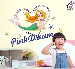 SYGA LOVELY STAR HEART MERMAID PINK DREAMS WALL STICKERS