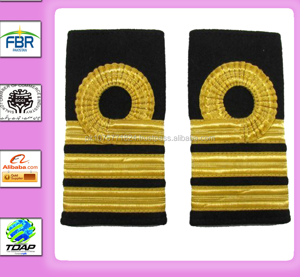 NAVAL EPAULETTE NAVAL COMMANDER RANK MARKING 1 CURL 2 BARS SHOULDER BOARD SLIDER