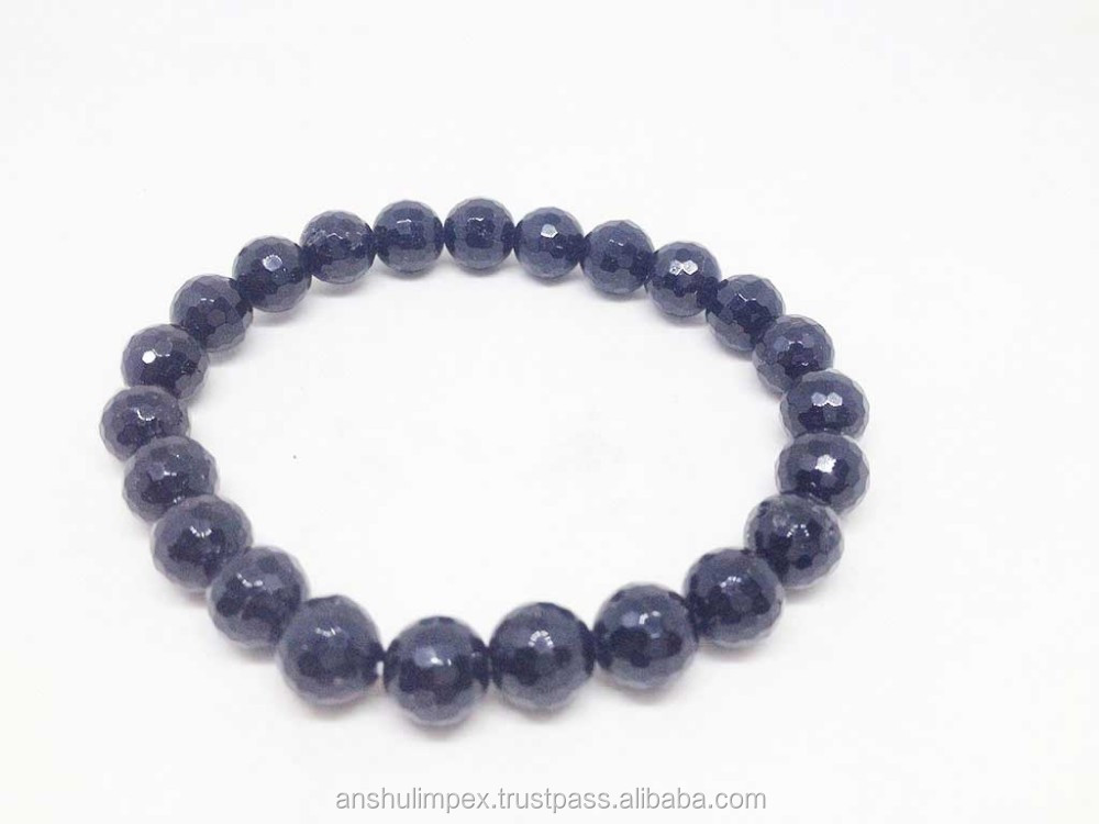 Natural Black Tourmaline Round Bead Bracelet, wholesale lot, bead bracelet