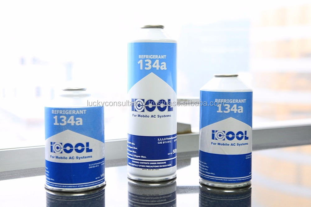 Pure R134a Refrigerant in alu disposable cans 200g