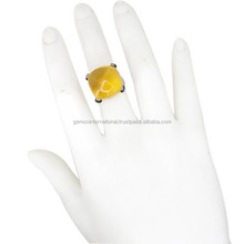 .925 Sterling Silver Diamond Ring Citrine Gemstone Ring Natural Diamond Ring Jewelry Manufacturer