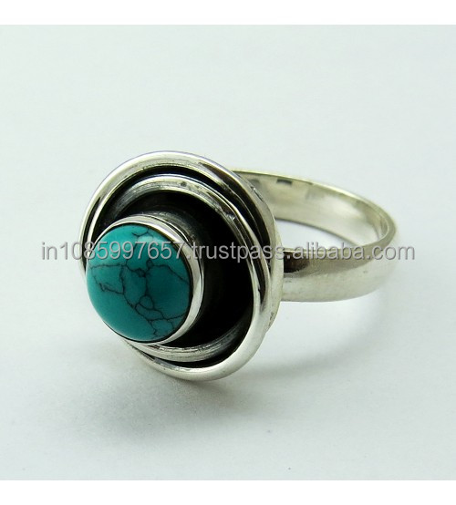 Artisan Gemstone Turquoise 925 Sterling Silver Ring, Handmade Silver Jewelry, Indian Jewelry Manufacturer